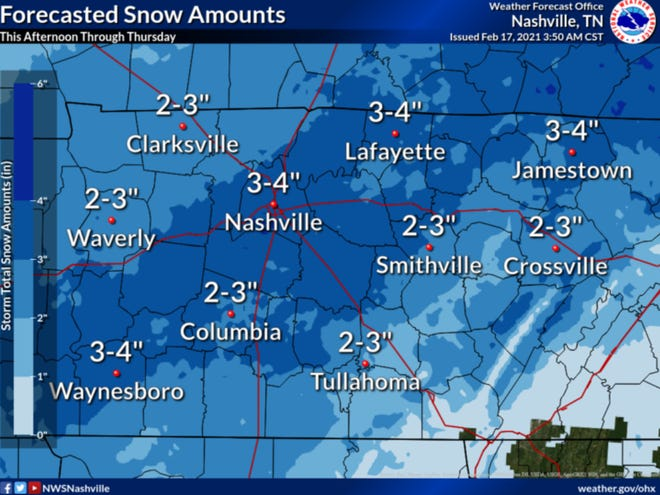 New Winter Storm Warning issued in Nashville on Feb. 17, 2021 from 6 p.m. to 6 p.m. Thursday.