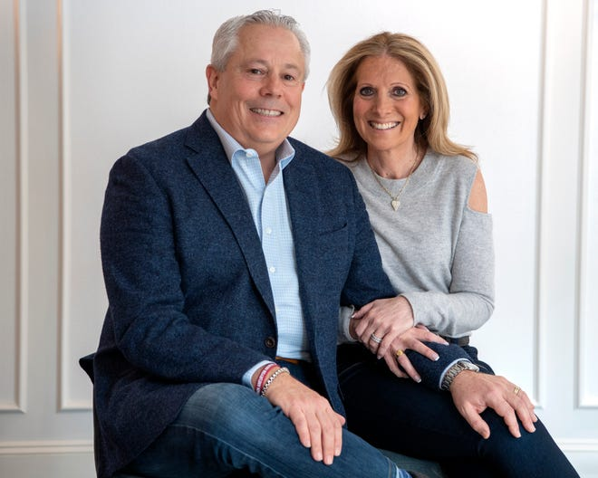 """Robert Gelman and his wife Lori at their home in Livingston on Wednesday, February 17, 2021. Robert Gelman tested positive for COVID-19 and received an infusion of blood plasma from a COVID-19 survivor """"super donor."""" Although at high risk for complications, he felt better within a week and never was hospitalized. To pay it forward his wife Lori donated plasma for the ongoing studies to treat patients at Hackensack University Medical Center."""