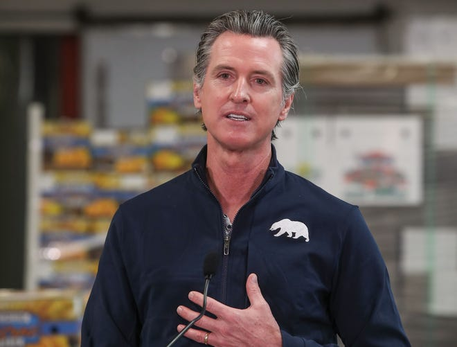 California Governor Gavin Newsom speaks during a press conference in Coachella, Ca., February 17, 2021.