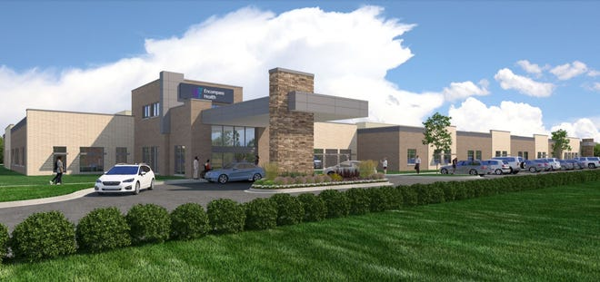 An architect's rendering shows the Encompass Health Rehabilitation Hospital of Pensacola, which will be a 40-bed inpatient rehabilitation hospital once completed in September 2021.