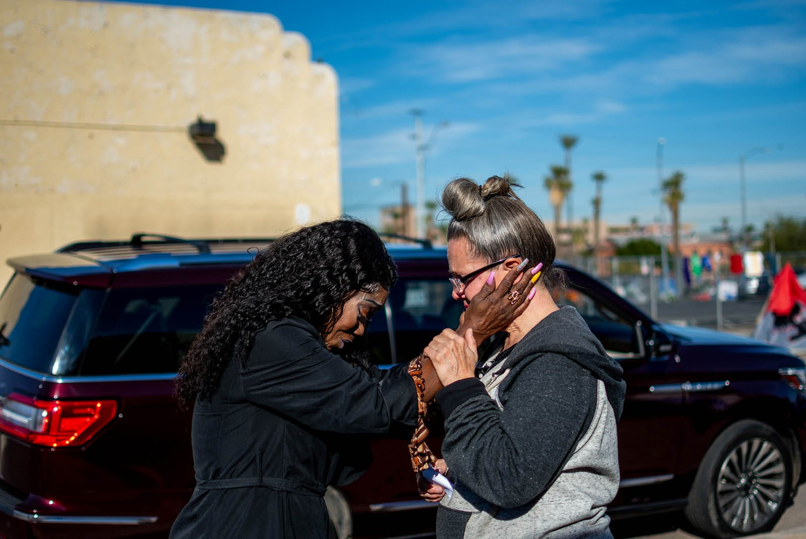 Darlene Carchedi gets emotional as she talks to a woman who promised Darlene a housing opportunity on  Jan. 3, 2020.