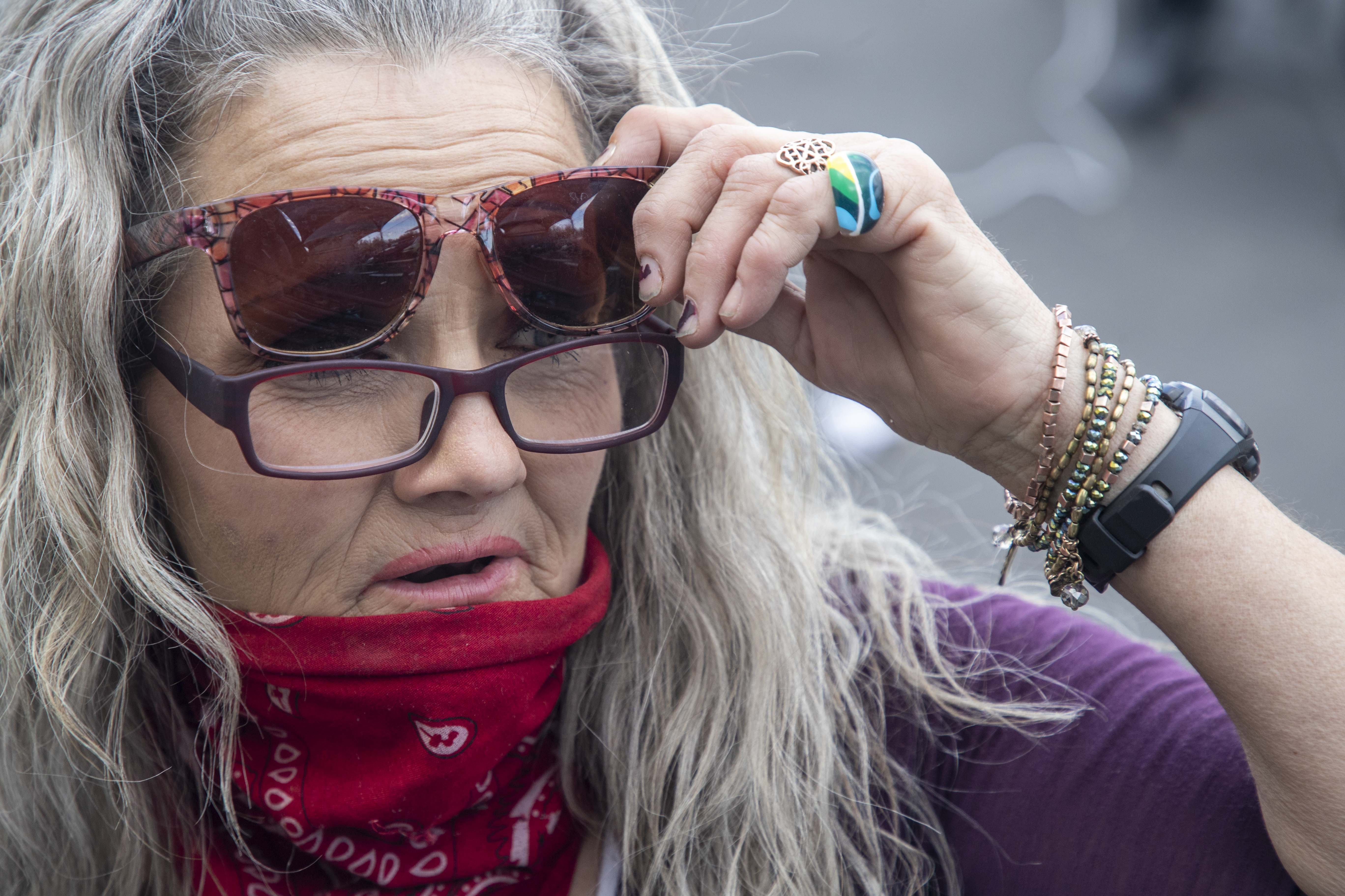 """Darlene Carchedi (seen on Feb. 16, 2021) says she doesn't want to be """"a lifer,"""" referring to people who never get off the street."""