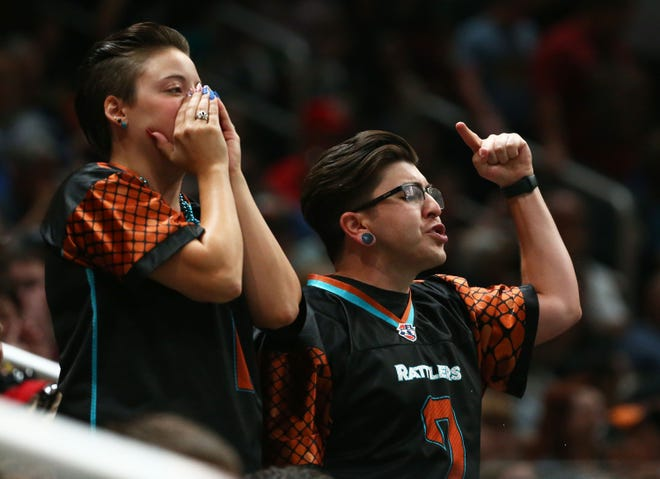 Arizona Rattlers fans boo the officials  against the Sioux Falls Storm in the second half during the United Bowl on July 13, 2019 at Gila River Arena in Glendale, Ariz.