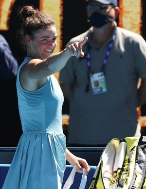 United States' Jennifer Brady celebrates after defeating compatriot Jessica Pegula in their quarterfinal match at the Australian Open tennis championship in Melbourne, Australia, Wednesday, Feb. 17, 2021.(AP Photo/Hamish Blair)