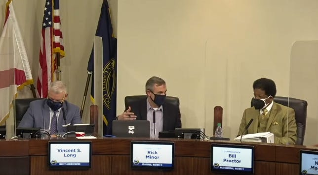 Leon County Commissioner Rick Minor discusses a proposal to offer human trafficking training to hotel and restaurant workers during a Feb. 16, 2021, commission meeting.