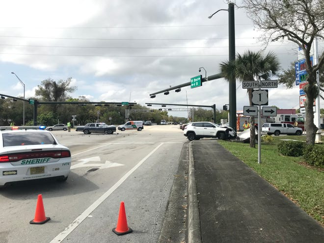 A three-vehicle crash at U.S. 1 and Fourth Street sent three people to a hospital and knocked out traffic lights at the busy Indian River County intersection around 12 p.m. Feb. 17, 2021.
