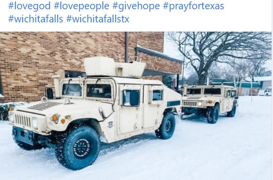 Texas National Guard troops are helping out at the shelter provided by City Hope Church in partnership with the city of Wichita Falls.