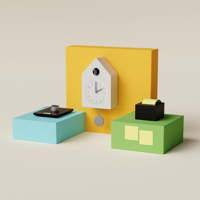 The Amazon concept devices in the Build It program, from left: Smart Nutrition Scale, Smart Cuckoo Clock, Smart Sticky Note Printer.