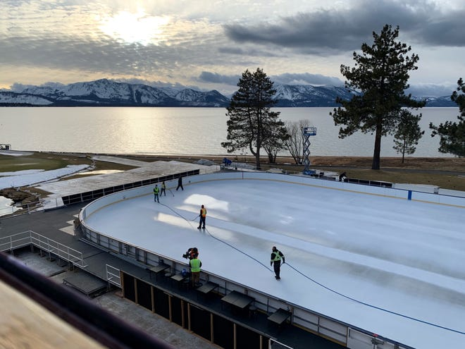 The rink at Lake Tahoe is located on the 18th fairway of the Edgewood Tahoe Resort.