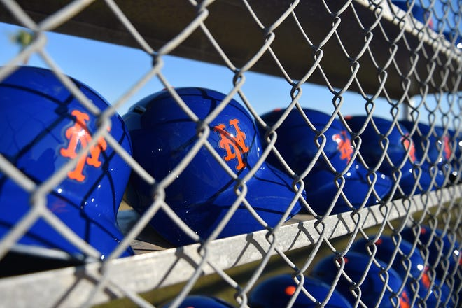 A general view of New York Mets batting helmets.