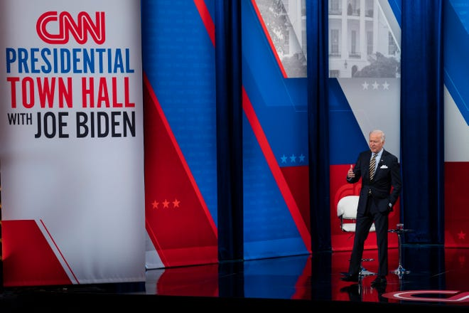 President Joe Biden participates in a televised town hall event at Pabst Theater, Tuesday, Feb. 16, 2021, in Milwaukee.