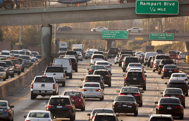 Traffic is shown on the Hollywood Freeway in Los Angeles in this Dec. 12, 2018, file photo.
