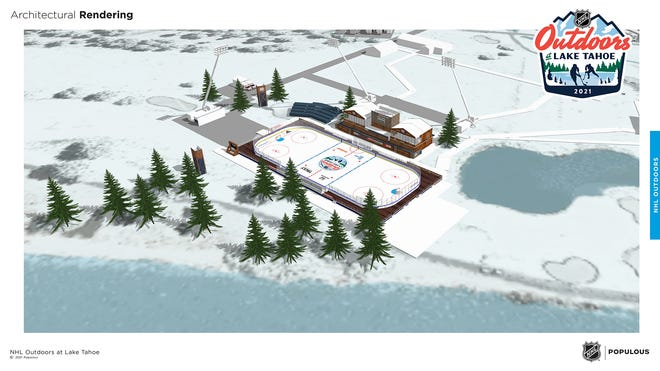 The NHL's architectural rendering of what the outdoor games at Lake Tahoe would look like.