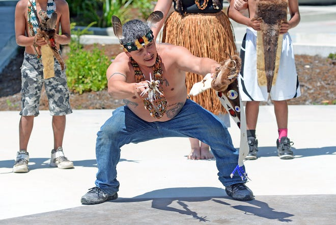 James Gensaw, a Yurok language teacher and ceremonial practitioner, performs a Brush Dance demonstration.