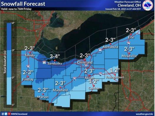 Thursday's snowfall forecast