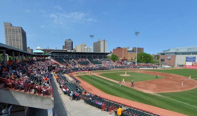 In this June 4, 2019, file photo, the Erie SeaWolves host the Altoona Curve for an Eastern League baseball game at UPMC Park in Erie, Pa. Major League Baseball has reorganized its minor leagues in a 120-team regional alignment.