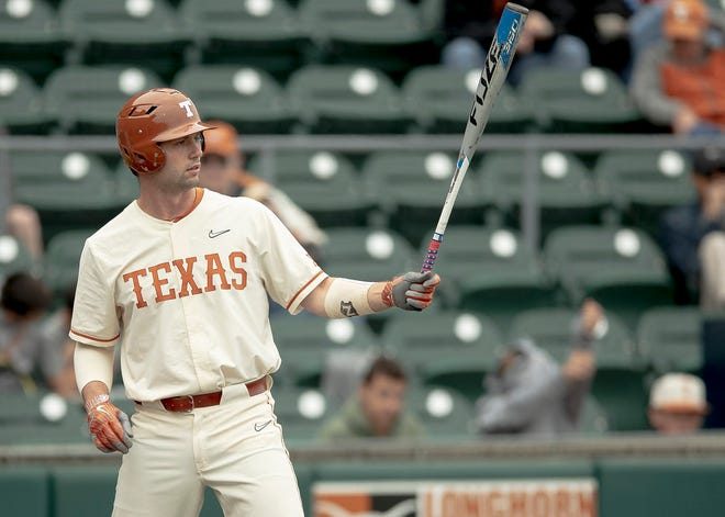 Texas' Zach Zubia readies for a pitch during a game against Cal State Fullerton early last season at UFCU Disch-Falk Field. The veteran first baseman is back for his fifth season with the Longhorns.