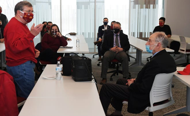 U.S. Sen. Chuck Grassley (R-Iowa) listens to farmer Randy Schmidt of Farm Story Meats during a question and answer session at the Iowa State University Research Park Wednesday, Feb. 17, 2021, in Ames, Iowa.