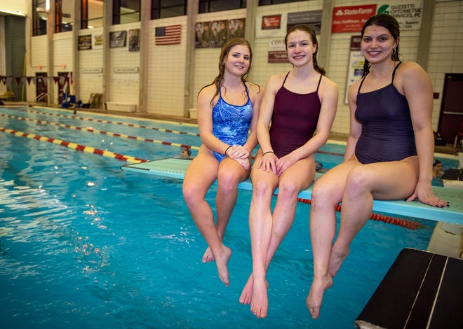 Central Valley High School divers, from left, Alyssa Bruno, Alexa Gonczi, and Payton Sarver don't have a pool at their school, so they practice at the Beaver High School pool.