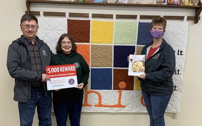 Pictured, from left, are Jerry Ebbert, Belmont County Farm Bureau president; Lova Ebbert, Belmont County Farm Bureau membership chairperson; and Betsy Anderson, Belmont County Farm Bureau, Senior Organization director.