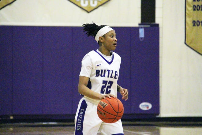 Butler's MeKayla Furman (22) brings the ball up in the second half against Barton on Wednesday, Feb. 17 at the Power Plant in El Dorado, Kansas. Furman finished with 11 points to help Butler to the win.