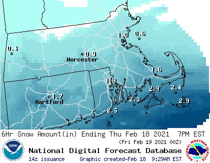 Cape Cod could have a couple of inches of snow on the ground by 7 p.m. tonight, with the possibility of more on Friday.