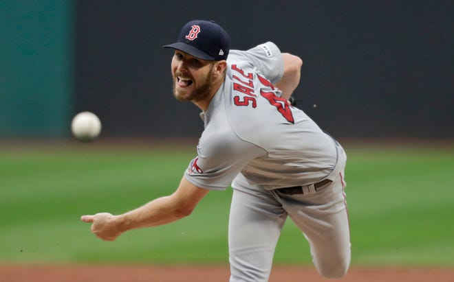 Solving the bullpen will be one of the biggest challenges for Boston Red Sox manager Alex Cora. Chris Sale, seen here in an August 2019 game against the Cleveland Indians, hasn't pitched since the 2019 season and is coming off Tommy John surgery and a bout with COVID-19.