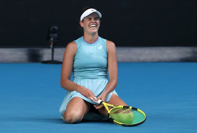 United States' Jennifer Brady reacts during her semifinal against Karolina Muchova of the Czech Republic at the Australian Open on Thursday in Melbourne, Australia.