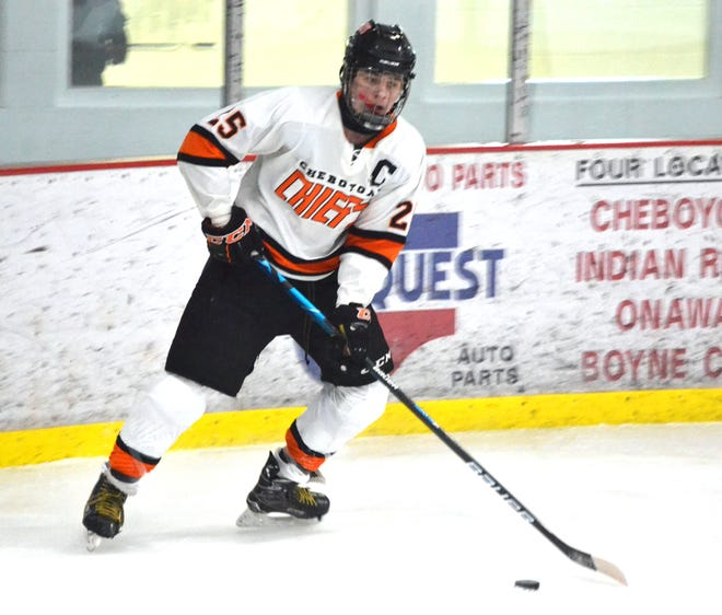 Senior forward Caleb Williams (25) scored two goals to help the Cheboygan hockey team capture a 5-3 victory at Cadillac on Wednesday.