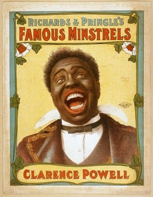 Clarence Powell in blackface, shown on a poster to promote the show.