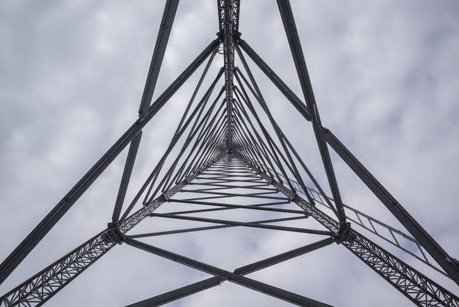 A data tower in Lowell, Ohio. The tower, which had a broadband router added to it through CARES Act money, will provide broadband internet access to about 300 people in the nearby area.