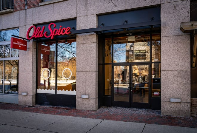 The storefront of Old Spice's first brick and mortar barber shop in Downtown Columbus