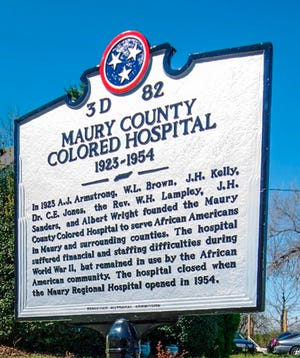Maury County Colored Hospital historic marker