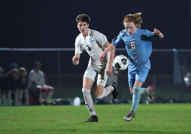 Michael Hogan (6), shown during Wednesday's win over Ponte Vedra, scored the lone goal of Saturday's 1-0 regional semifinal victory against Gainesville.