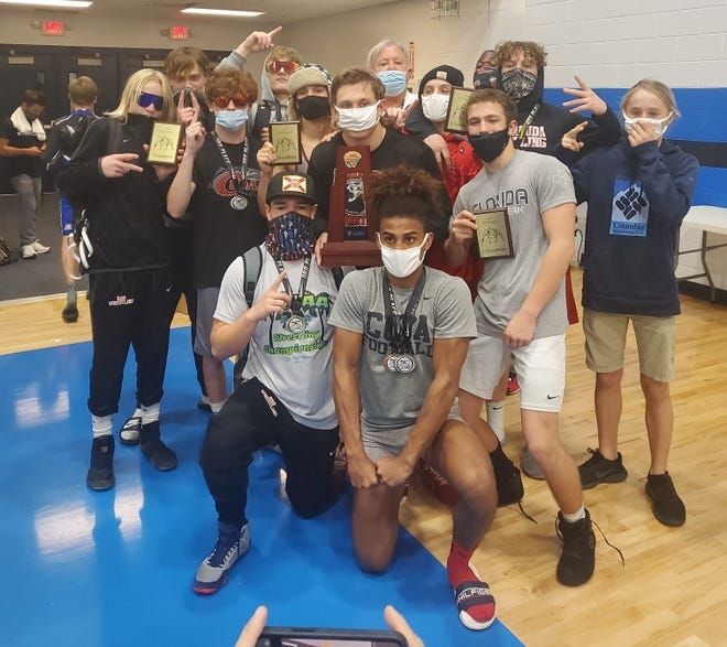 The New Smyrna Beach High wrestling team won the District 2-4A title Wednesday, Feb. 17, 2021.