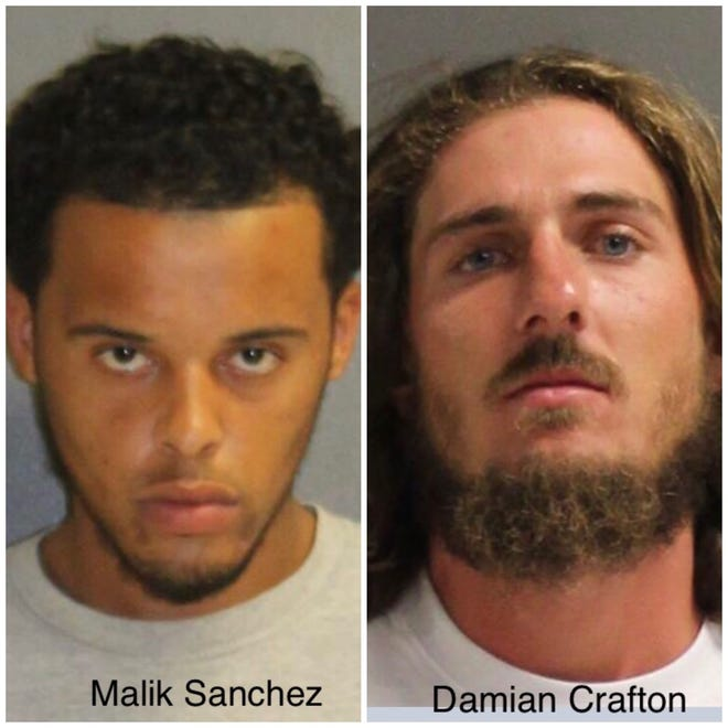 DeLand police are looking for Damian Crafton (right) in connection to a December robbery in the city. Another suspect, Malik Sanchez, was arrested Wednesday.