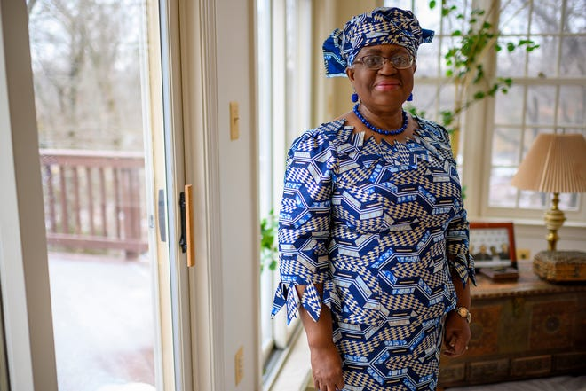 Nigeria's Ngozi Okonjo-Iweala poses at her home in Potomac, MD, near Washington D.C., as she was confirmed as the first woman and first African leader of the beleaguered World Trade Organization, on Monday, Feb. 15, 2021.