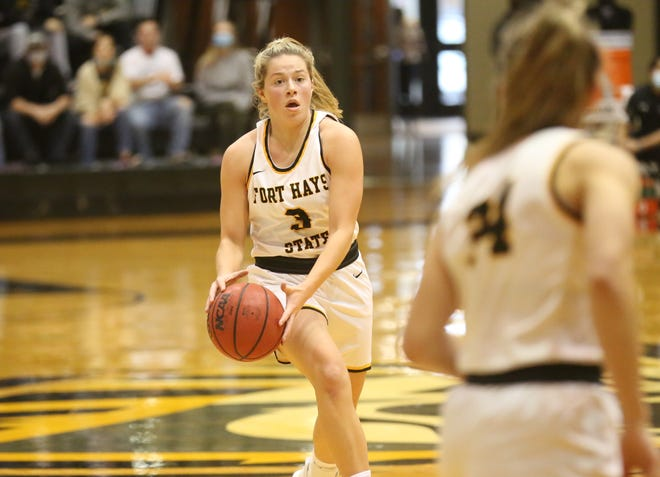 Fort Hays State's Sydney Golladay looks to pass the ball during a game earlier this season.