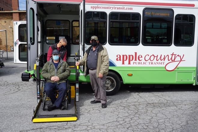 The new Apple Country Public Transit buses feature electric wheelchair lifts, new fare boxes, message boards, and will soon be equipped with technology to provide ridership data across all routes.