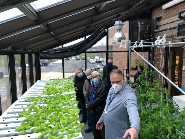 A Jan. 15 tour led by HHS AP Environmental Science teacher Matthew Kearns offered members of The Kiwanis Club of Hudson insight into the hydrophonic greenhouse. The club donated a $20,000 grant to help fund the project.