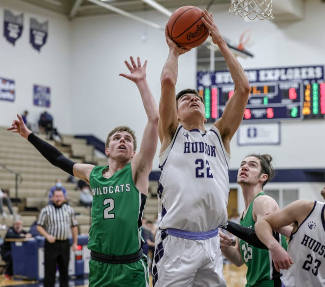Hudson's David Gentry puts back a rebound during a game against Mayfield Wednesday.