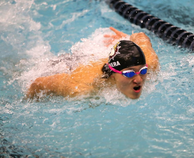 Stow-Munroe Falls junior Alex Cimera swims the butterfly during a meet earlier this season. Cimera won the 50- and 100-yard freestyle races Feb. 13 at the Division I sectional meet at Wooster.