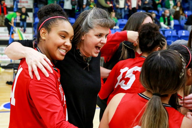 Brownfield coach Michelle Wyatt embraces Deja Johnson after the Lady Cubs' 53-51 Class 3A area-round victory against Idalou on Feb. 17 at the Rip Griffin Center. No. 5 Brownfield and No. 1 Shallowater play for the regional title Tuesday at Frenship.