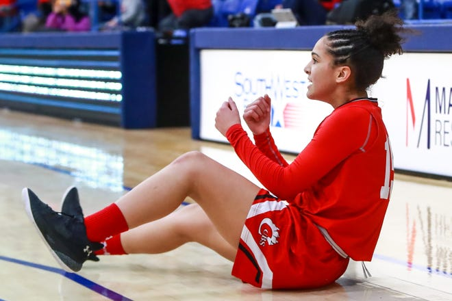 Brownfield's Gabi Fields (15) reacts after being fouled on the last shot of a Class 3A area championship game Wednesday against Idalou at Lubbock Christian University's Rip Griffin Center.