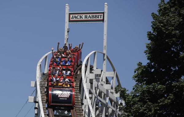 The historic Jack Rabbit wooden coaster at Seabreeze Amusement Park in Irondequoit is seen in a 2013 file image.