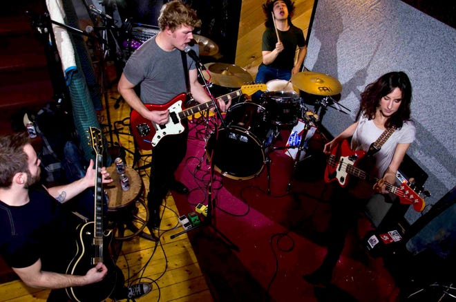 Punk band Meds are guitarist and co-vocalist Tom Berglund, lead guitarist Joe Lemerise, drummer Ziggy Coffey and bassist and co-vocalist Liz Woodard.