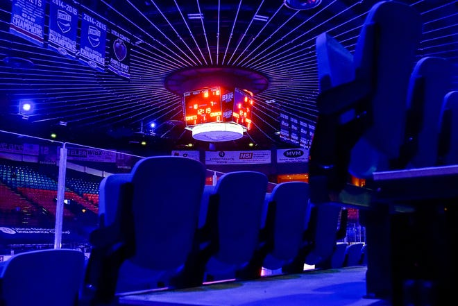 The Utica Comets hosted the Syracuse Crunch during the team's home opener on Wednesday, Feb. 17, 2021, at the Adirondack Bank Center at the Utica Memorial Auditorium. No fans are allowed inside the Adirondack Bank Center right now because of lingering pandemic restrictions.