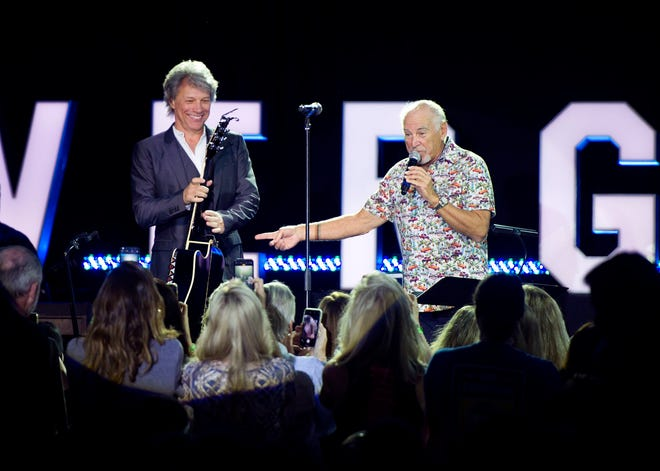 Jon Bon Jovi and Jimmy Buffett perform during the Everglades Foundation ForEverglades dinner dance at The Breakers in February 2019. [Meghan McCarthy/palmbeachdailynews.com]