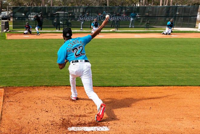 Marlins pitcher Sandy Alcantara throws on the first day of Spring Training Thursday at Roger Dean Chevrolet Stadium in Jupiter.