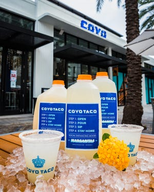 Margaritas to go at Coyo Taco in Palm Beach. COYO TACO
